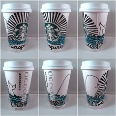 Art by gjmurthy Starbucks posted my artwork for their cup contest design! Starbucks Cup Design, Starbucks Cup Art, Secret Starbucks Drinks, Starbucks Logo, Starbucks Coffee, Starbucks History, Sharpie Art, Sharpies, Coffee Cup Art