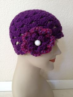 Crochet Beanie  Purple Scalloped Shell with by NydiaFierroDesigns, $20.00