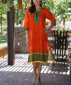 Loving this Orange Long-Sleeve Embroidered Tunic on #zulily! #zulilyfinds