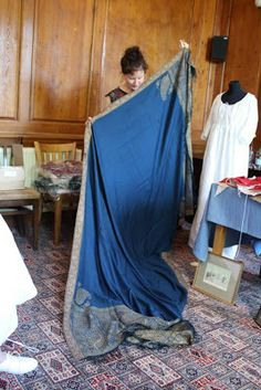 The size of an original regency shawl via Natalie Garbett.