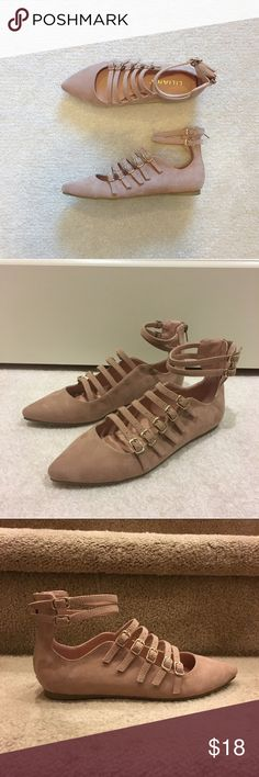 Dusty pink multi strappy pointy toe flats Brand new no shoebox. True to size. Back zipper closure. 18 Shoes Flats & Loafers
