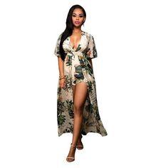 700d035718e Beach Long Jumpsuit Plus Size Chiffon Summer Women Jumpsuit printing Sexy  Casual Vintage Irregular Maxi jumpsuit S-3XL