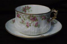 Ancienne Tasse à déjeuner 1900 Art Nouveau en Porcelaine de Limoges