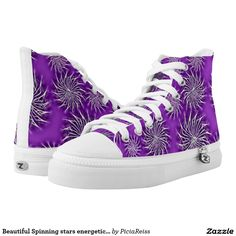 Beautiful Spinning stars energetic pattern purple Printed Shoes