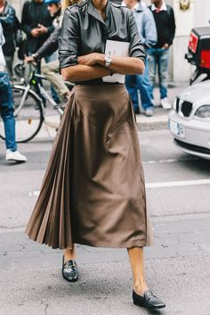 midi skirt with side pleats