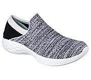 You by skechers®. A new footwear collection combining lifestyle and wellness. Versatile. Active. Comfort, style and flexibility with the YOU by skechers® shoe. Designed to be worn. Soft woven mesh fabric and super flexible knit fabric upper in a slip on sporty walking and comfort athletic shoe with stitching detail. Comfort insole and midsole design. #athleticshoesstyle