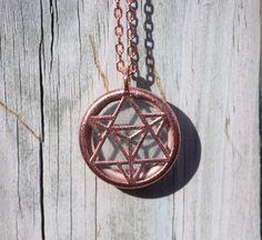 Merkaba Star Glass Pendant // Electroformed Copper by MerakiRame