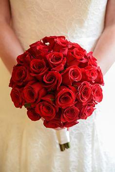 Simple yet stunning red rose wedding bouquet at Walt Disney World