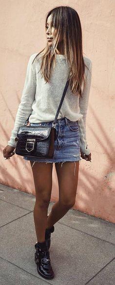 ootd sweater + bag + denim skirt + boots