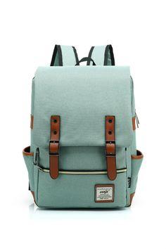 Vintage Mint Canvas Travel Backpack Big Capacity