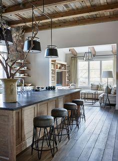 New House Interior Design Rustic Benches Ideas Modern Farmhouse Kitchens, Rustic Kitchen, Home Kitchens, Rustic Farmhouse, Kitchen Ideas, Contemporary Kitchens, Custom Kitchens, Farmhouse Fireplace, Wooden Kitchen