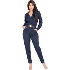 4f2442ce16f Radiate confidence in this ultra-chic formal jumpsuit. Its flattering  crossover design and goldtone metallic belt adds flair to this unique piece.