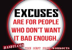 No Excuses Workout Quotes health and fitness quotes