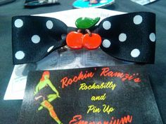 Handmade Polka Dot Cherry Rockabilly Pin Up Hair Bow. :)  by Jennie Rage of Rotten Cherry Retro for Rockin' Ramzi's Rockabilly and Pin Up Emporium