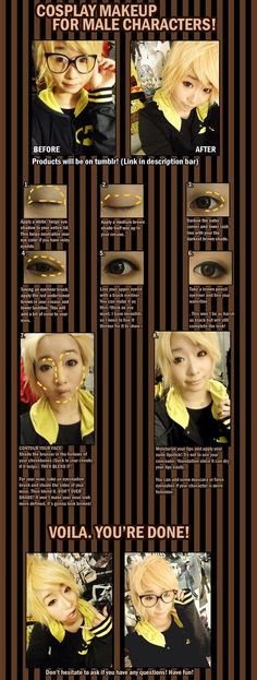 Cosplay Makeup for male characters by ~hinamomo on deviantART-- I've been needing a tutorial to do my brothers make-up. This is pretty helpful. Male Cosplay, Cosplay Diy, Cosplay Outfits, Best Cosplay, Cosplay Makeup Tutorial, Costume Tutorial, Anime Cosplay Makeup, Anime Make-up, Male Makeup