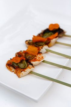 wedding Appetizer idea: Healthy yummy grilled fish... Incorporating various shapes into an appetizer is essential to creating a visually pleasing bite.