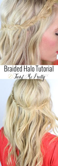 A braided halo tutorial -- I love that you can't tell where this braid starts or stops, this hairstyle is just so dainty.  One of my favorites! | Twist Me Pretty