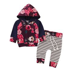 HGWXX7 4PCS Toddler Newborn Baby Girls Letter Rompers Jumpsuit Bobysuit+Floral Pants+Headbands+Cap Clothes Set