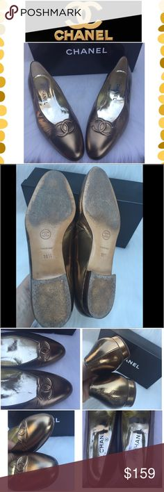 0cfff835b91369 Authentic Chanel flats Authentic Chanel Bronze flats. Preowned condition  with normal wear. Some creasing