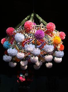 Pająk - folk chandelier, made of straws, tissue paper, and wool by polish folk artist.