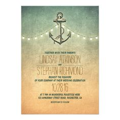Rustic lights nautical wedding invitation.  $2.05