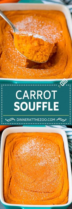 This carrot souffle is made with pureed carrots, sugar, butter and eggs, all cooked together to golden brown perfection.