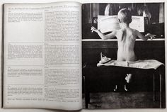 This magazine was created in 1962. This spread doesn't have a lot of interesting features. There's only one type face. It's arranged in simple columns. I believe you have to read this from side to side because in between the columns there's lines. The main image in this spread, is a little boy in black and white playing a piano.