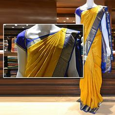 An yellow silk saree with a blue border from the Samudrika collection. Price: Rs 15725.  To view more Bridal Sarees: http://m.pothys.com/