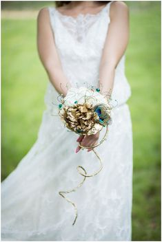 peacock inspired bouquet