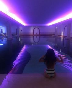indoor pool w/neon lights