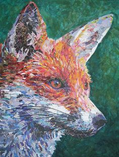 Original Torn Paper Collage Art. Fox  This unique artwork is a torn paper collage, depicting a Fox.  The piece measures:  65cm by 85cm  To find