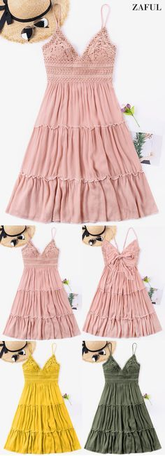 Crochet Empire Waisted Bowknot Back Dress. This dress features exquisite crochet, graceful frills, and bowknot back details. This gorgeous dress is the perfect choice when you want to stand out, you just need to slip on some casual sandals and you're ready for a day of fun. #Zaful #dress #outfits