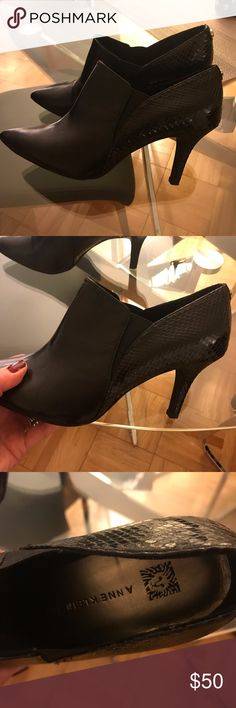 b2ee2637718c Shop Women s Anne Klein Black size Ankle Boots   Booties at a discounted  price at Poshmark. Back is in croc leather. Impeccable shape wore once.