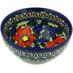 Polmedia Polish Pottery 6inch Stoneware Bowl H0815E Hand Painted from CerRaf in Boleslawiec Poland Shape S813B90 Pattern P5702AK24 Unikat ** Continue to the product at the image link.
