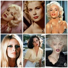 1950s Hollywood Bombshell Beauties 1. Carroll Baker 2. Grace Kelly 3. Jayne Mansfield 4. Bridgette Bardot 5. Elizabeth Taylor 6. Marilyn Monroe