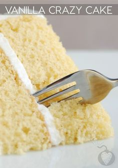 Crazy Cake You Can Make With No Eggs, Milk, Or Butter Vanilla Crazy Cake SWANK NOTE: May use safflower oil instead of vegetable oil if desired.Vanilla Crazy Cake SWANK NOTE: May use safflower oil instead of vegetable oil if desired. Vanilla Crazy Cake Recipe, Crazy Cake Recipes, Crazy Cakes, Vanilla Cake Without Milk, Vanilla Cupcakes No Milk, Eggless White Cake Recipe, Eggless Birthday Cake Recipe, Dairy Free Vanilla Cake, Vanilla Sugar