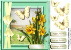 Lovely Daffodils and golden Butterfyl s  on Craftsuprint - Add To Basket!