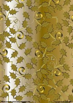 Holly Flourishes on Gold on Craftsuprint designed by Karen Adair - A metallic gold effect background with gold embossed effect holly leaves on swirly vines. This will make a beautiful background to your hand-made Christmas cards - Now available for download!