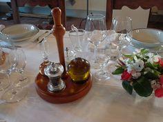 Geschmackvolles Set für Olivenöl, Salz und Pfeffer