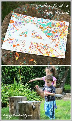 East Art Projects for Kids: Splatter Paint and Tape Resist~ Buggy and Buddy