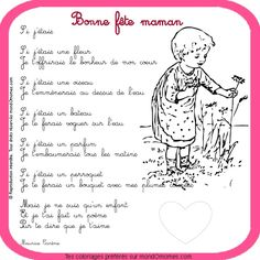 Détail dimage pour –Coloriage Fête des mères et fête des pères : Coloriage bonne fête ... Mothers Day Poems, Mothers Love, Fathers Day, French Poems, Teaching Schools, Teaching French, Mother And Father, Learn French, Art Activities
