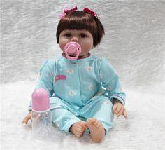 79.56$  Buy here - http://alizid.worldwells.pw/go.php?t=32721248142 - 55cm Doll Reborn Babies Realistic Silicone Baby Dolls girl Kids Growth Partners birth reborn brinquedos de menina bonecas 79.56$