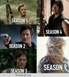 Daryl Dixon during the seasons