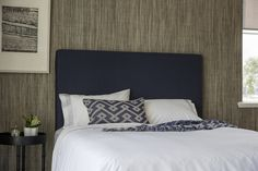 Our classic Berrima Bedhead, upholstered with your choice of fabric, shown here with a cool and classic navy linen. Available from Fabrica Bedheads www.fabricabedheads.com.au