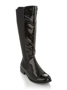 Patent riding boots Black