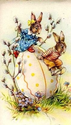 Vintage Easter ... bunnies playing