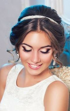 Maquillaje - Bride With Sass Wedding Day Makeup Prom Makeup, Wedding Hair And Makeup, Bridal Makeup, Bridal Hair, Hair Makeup, Eye Makeup, Hair Wedding, Formal Hairstyles, Pretty Hairstyles