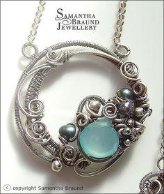 Blue Chalcedony Gemstone Circle necklace by Samantha_Braund, via Flickr