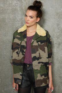 Vintage Surplus Sherpa F2 Collar Camo Jacket #camo #camouflage #sheepskin