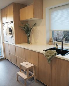 Stacked Washer Dryer, Washer And Dryer, Room Closet, Hygge, Laundry Room, Corner Desk, Ikea, New Homes, Home Appliances